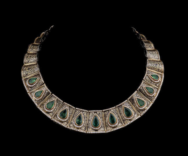 Egyptian-Inspired Emerald and Diamond Necklace